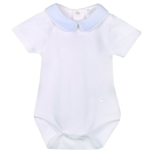 Patachou Short Sleeve Bodysuit in White with Blue Collar