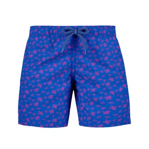 Vilebrequin Boy's Swim Trunks in Blue with Micro Turtles print