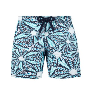 Vilebrequin Boy's Swim Trunks in Blue & White Oursinade Print