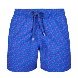 Vilebrequin Men's Swim Trunks in Blue with Micro Turtles print