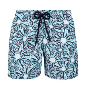 Vilebrequin Men's Swim Trunks in Blue & White Oursinade Print