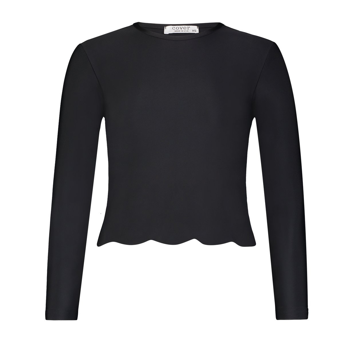 Cover Swim Women's Scallop Top Long Sleeve Swim Top in Black