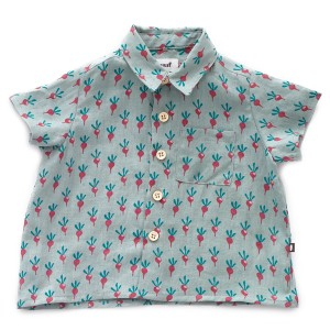 Oeuf Short Sleeve Button Down Shirt in Blue with Purple Radishes