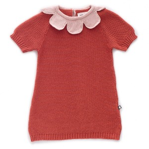 Oeuf Rust Red Daisy Collar Dress