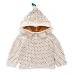 Oeuf White with yellow dot Daisy Hoodie