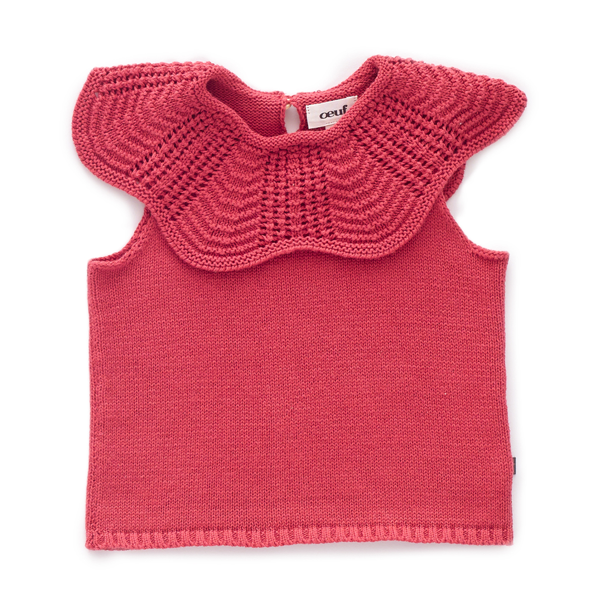 Oeuf Scalloped Collar Top in Cranberry