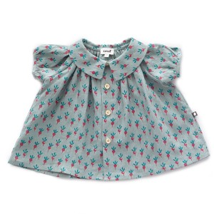 Oeuf Short Sleeve Blouse in Blue with Radishes