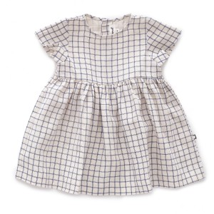 Oeuf Short Sleeve Dress in White Check