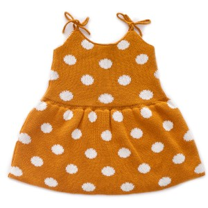 Oeuf Tie Strap Dress in Ochre with White Polka Dots