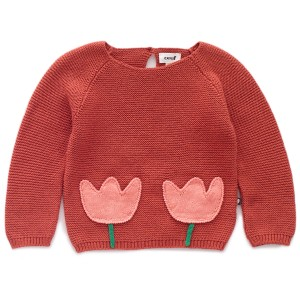 Oeuf Tulip Sweater in Rust with Pink Tulips