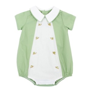 Dondolo Short Sleeve Cotton Luca Bubble in Green with snail embroidery