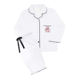 Piu Adult Bamboo Pajama Set in White with Black Piping with Monogram on Pocket