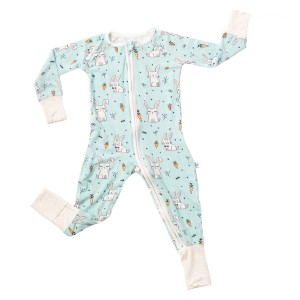 Little Sleepies Sleeper PJ in Aqua with Bunnies Print