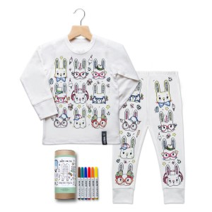 Selfie Clothing Co Color-In Pajama Set in Easter Print