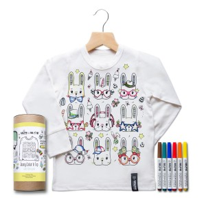 Selfie Clothing Co Color-In Long Sleeve Shirt in Easter Print