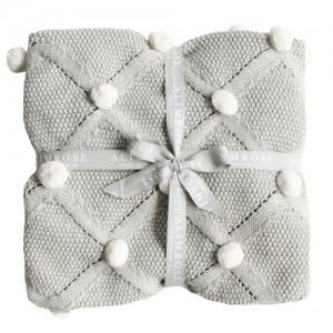 Alimrose SS19 Organic Cotton Knit Pom Pom Blanket-Grey & White