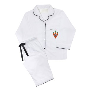 Piu Women's Bamboo Pajama Set in White with Black Piping and Carrot Monogram on pocket