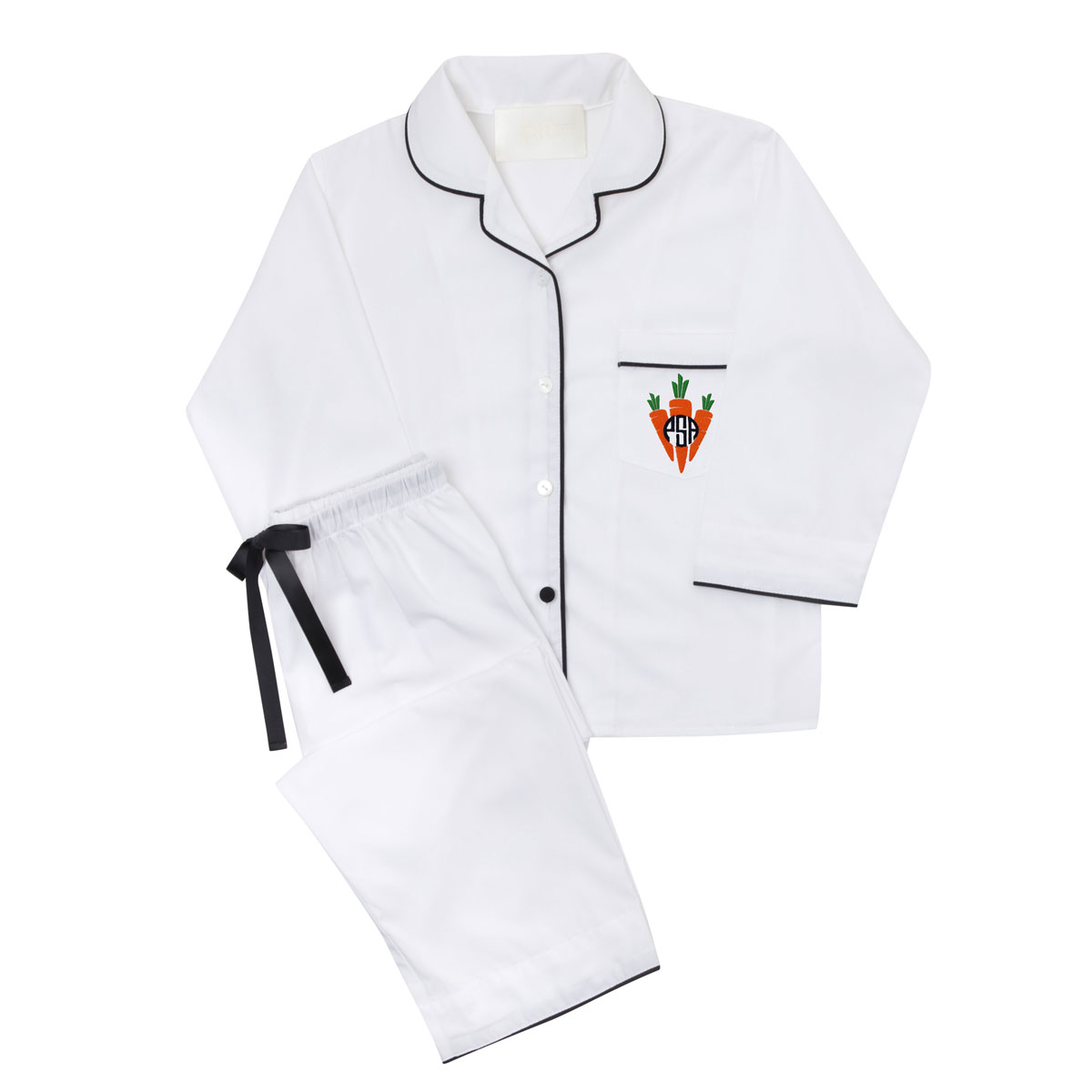 Piu Men's Bamboo Pajama Set in White with Black Piping and Carrot Pocket Monogram