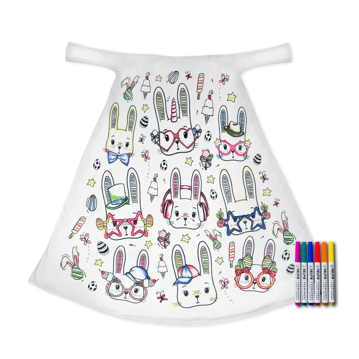 Selfie Clothing Co Toddler/Big Kid Color-In Cape - Bunnies