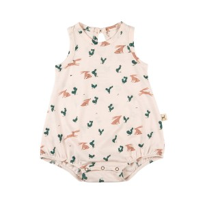 Red Caribou Baggy Onesie in Prickly Rabbit Blush