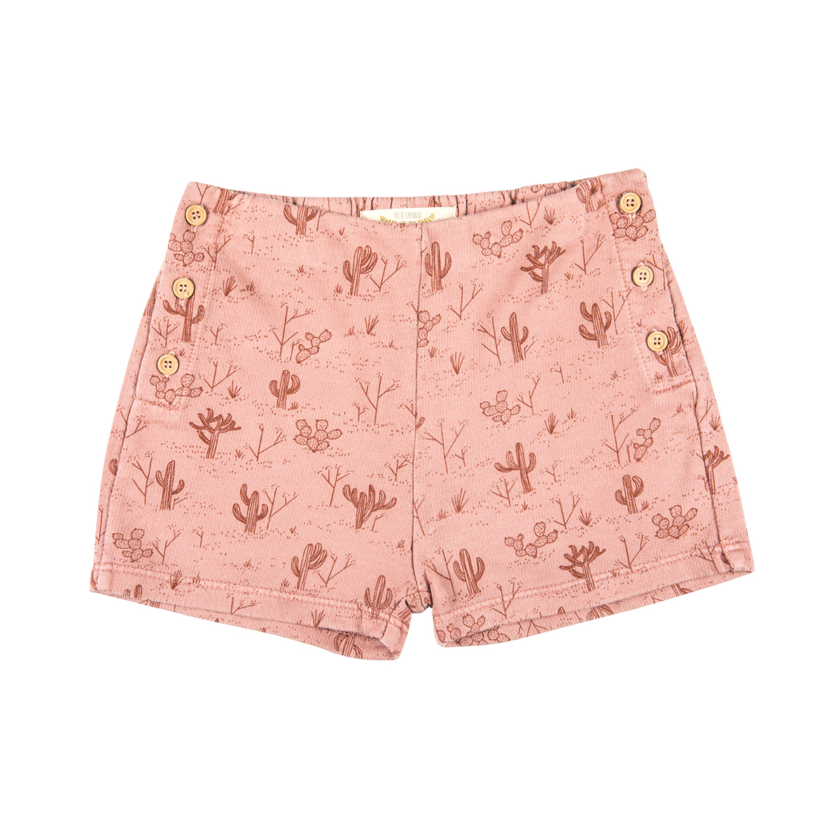 Red Caribou French Terry Short in Cacti Garden Rose