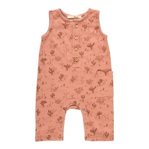 Red Caribou French Terry Romper in Cacti Garden Rose