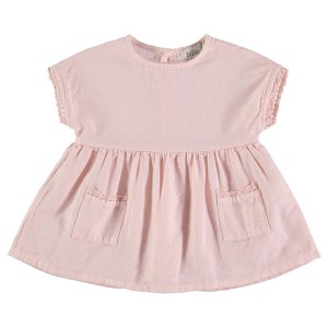 Buho Short Sleeve Baby Lucia Dress in Light Pink