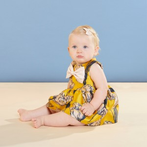 Hucklebones Sleeveless Bodice Dress & Bloomers in Marigold Tulip on baby