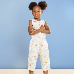 Hucklebones Printed Cotton Sateen Jumpsuit on girl