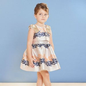Hucklebones Sleeveless Ribbon Bodice Dress in Buttercup Border on girl