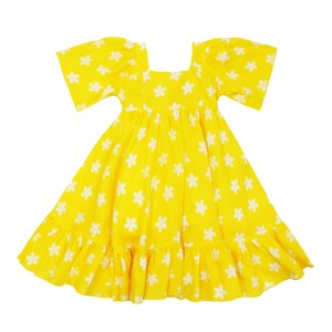 Gul Hurgel Short Sleeve Girl's Dress in Yellow with White Flowers