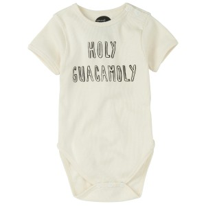 Sproet & Sprout White Short Sleeve Onesie in Holy Guacamoly