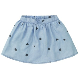 Sproet & Sprout Playing Cards Skirt in Vintage Denim