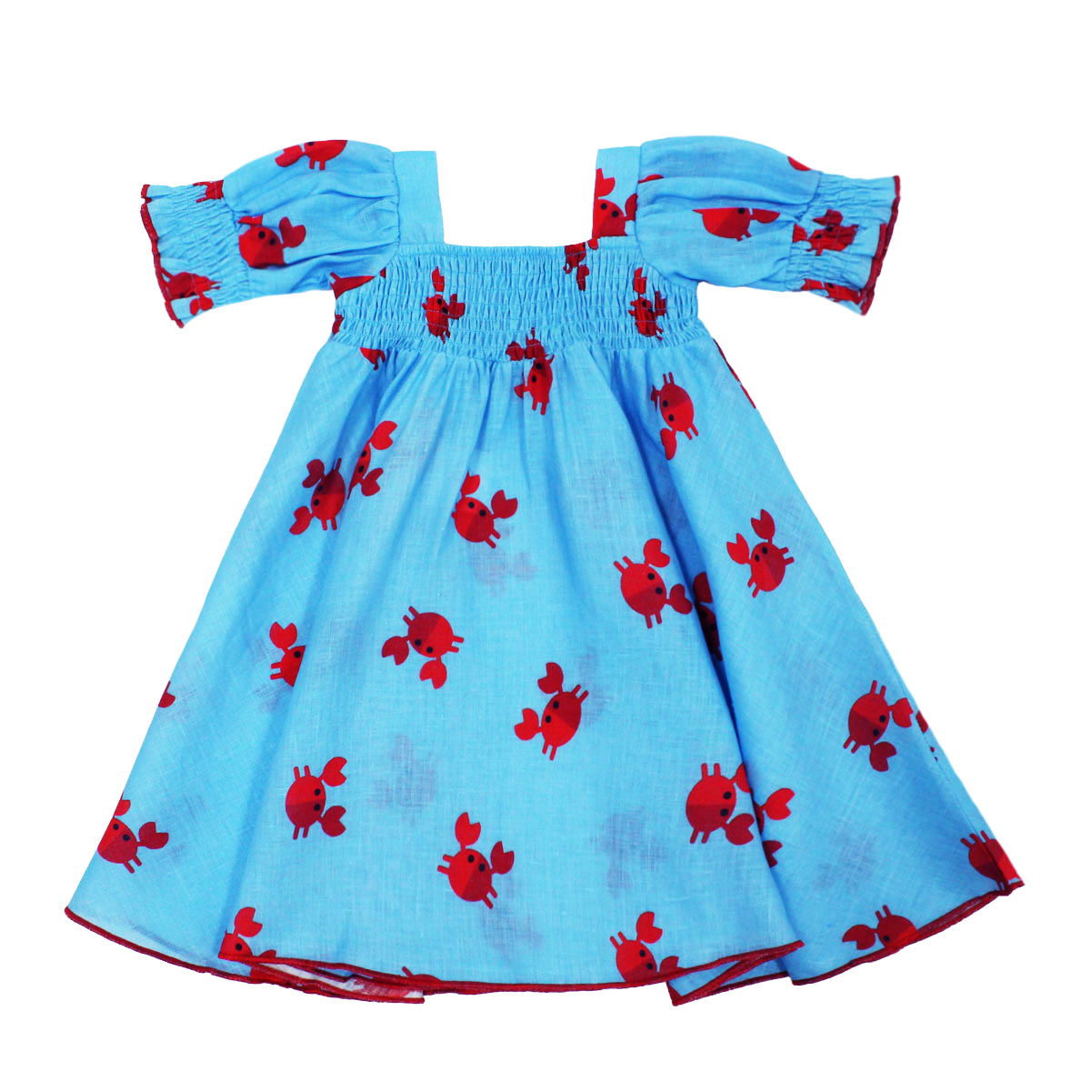 Gul Hurgel Short Sleeve Girl's Dress in Blue with Red Crabs