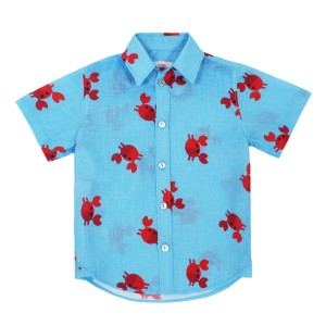 Gul Hurgel Boy's Short Sleeve Button Down Shirt in Blue with Red Crabs