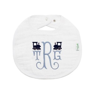 The Tot Monogram Bib in White with Blue Trains