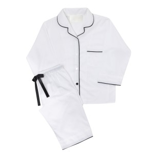 PIU Women's Pajama Set in White w/ Black Piping
