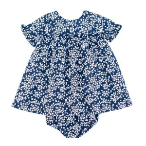 Madras Made Barcelona Short Sleeve Dress & Bloomer Set in Blue with White Flowers