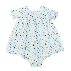 Madras Made Barcelona Short Sleeve Dress & Bloomer Set in White with Blue Flowers