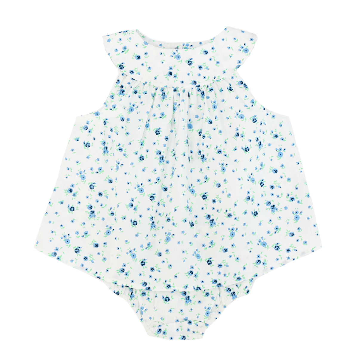 Madras Made Capri Sleeveless Dress and Bloomer Set in White with Blue flowers