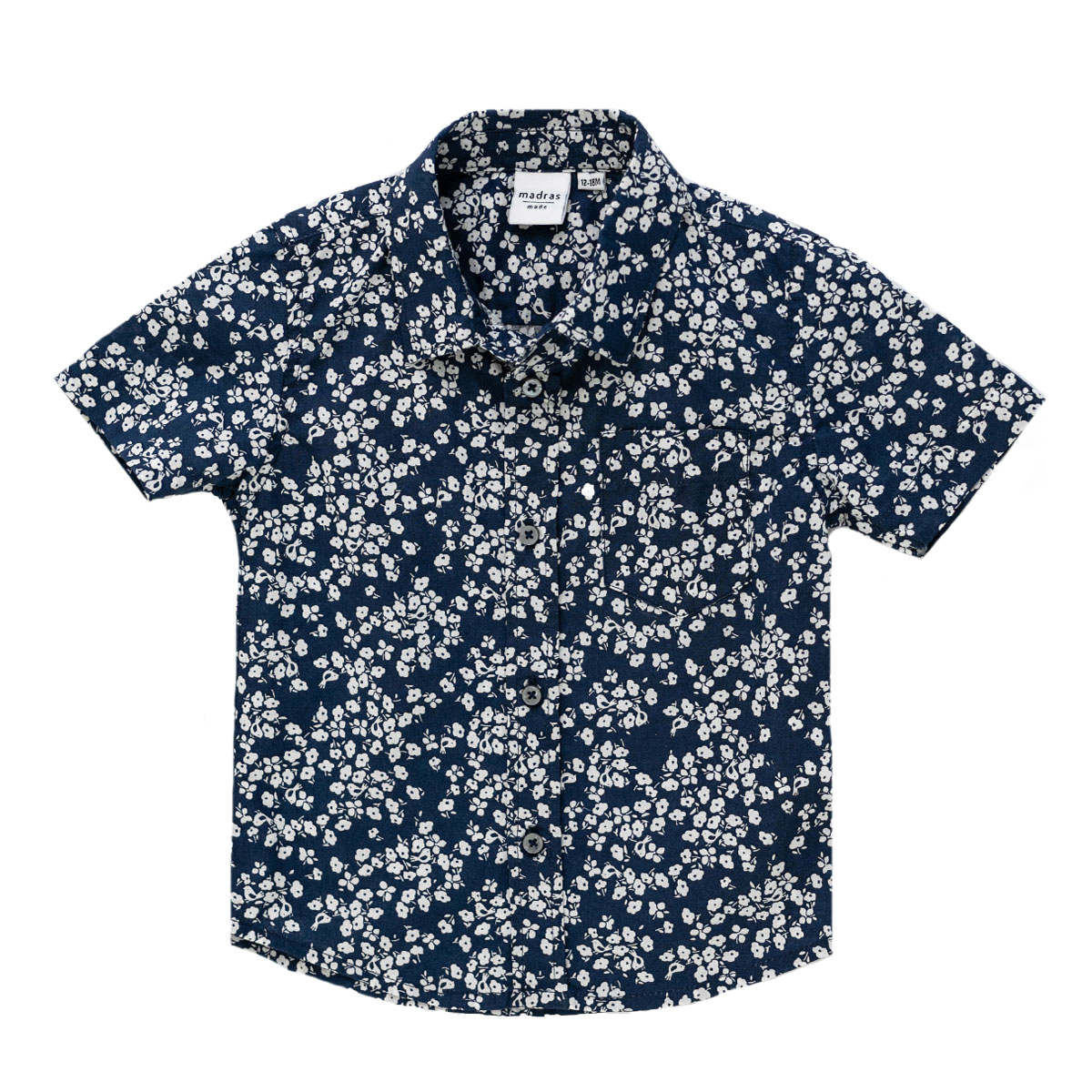 Madras Made Short Sleeve Montauk Shirt in Blue with White Flowers