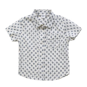 Madras Made Short Sleeve Montauk Shirt in White with Blue Flowers