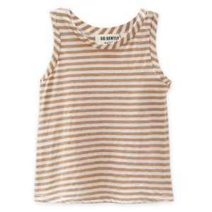 Go Gently Nation Jersey Tank Top in Tan Stripe