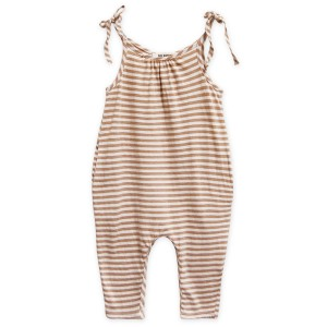 Go Gently Nation Jersey Jumpsuit in Tan Stripe