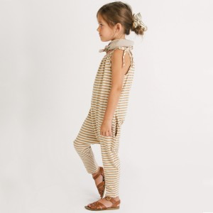 Go Gently Nation Jersey Jumpsuit in Tan Stripe on girl