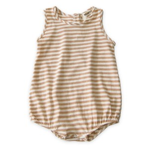 Go Gently Nation Jersey Onesie in Tan Stripe