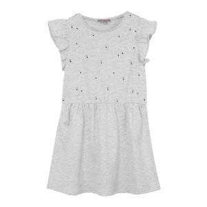 Emile Et Ida Jersey Brodee Dress in Gris Chine