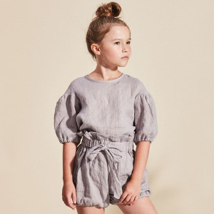 Kids On The Moon Bow Shorts in Grey on girl