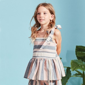 Kids On The Moon Swing Striped Top on girl