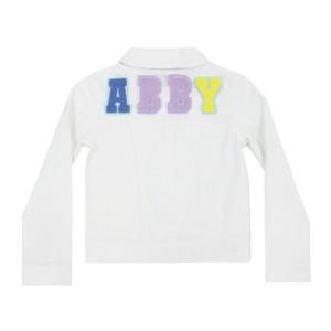 Levi's White Denim Jacket with Personalized Felt Letter Patches in Top Placement